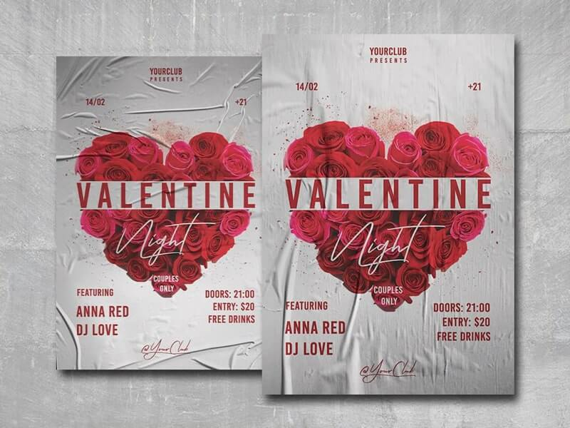 Valentine Night Free PSD Flyer Template