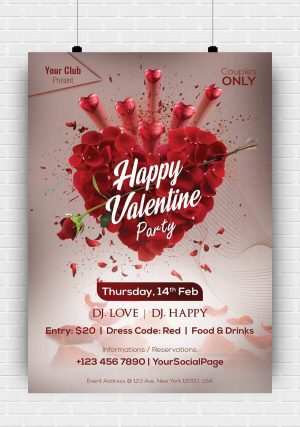 Valentine Party PSD Flyer Template