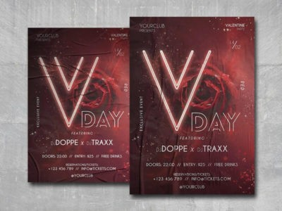 V-Day Party Free PSD Flyer Template