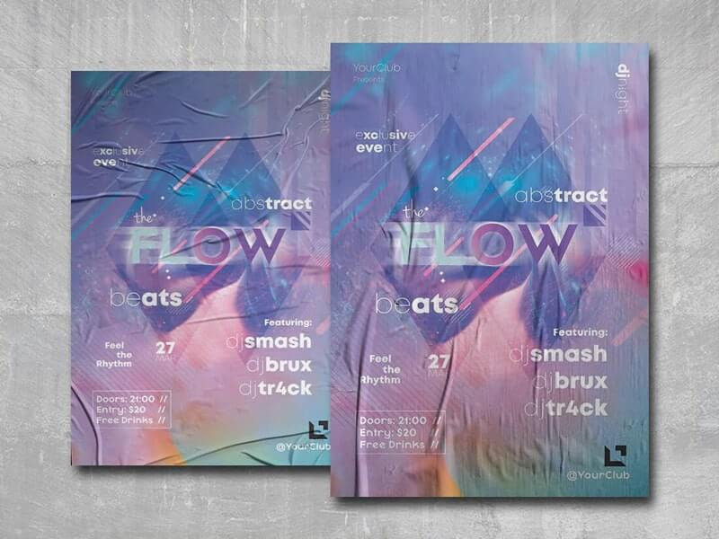 Abstract Beats Free PSD Flyer Template