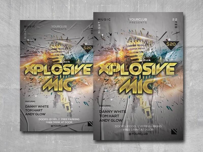 Xplosive Mic Free PSD Flyer Template