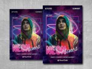 Neon Lights Party Free PSD Flyer Template