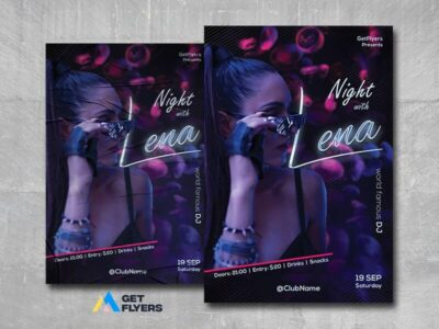 Night with DJ Free PSD Flyer Template
