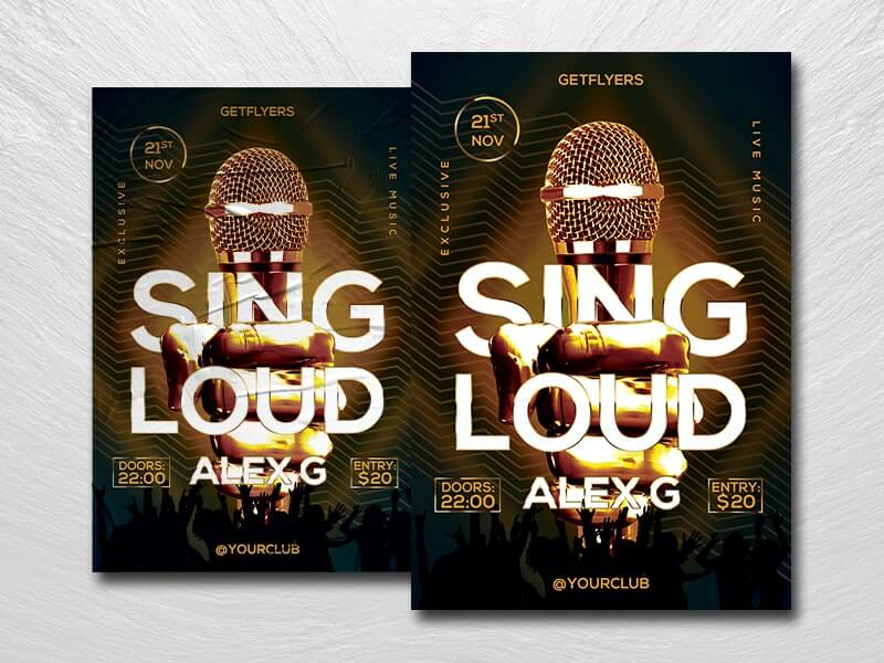 Sing Loud Free PSD Flyer Template