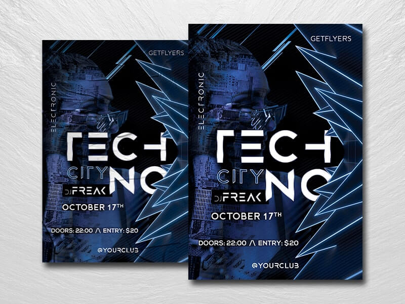 Techno City Free PSD Flyer Template