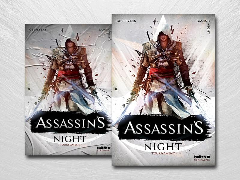 Assassins Gaming Night PSD Flyer Template