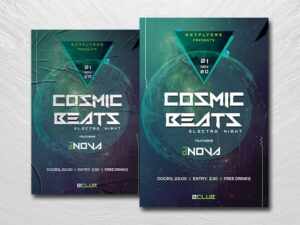 Cosmic Beats Free PSD Flyer Template