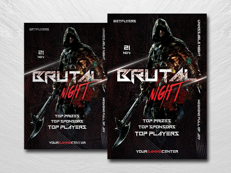 Brutal Gaming Night Free PSD Flyer Template