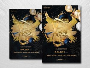 Golden Xmas Vibes Free PSD Flyer Template