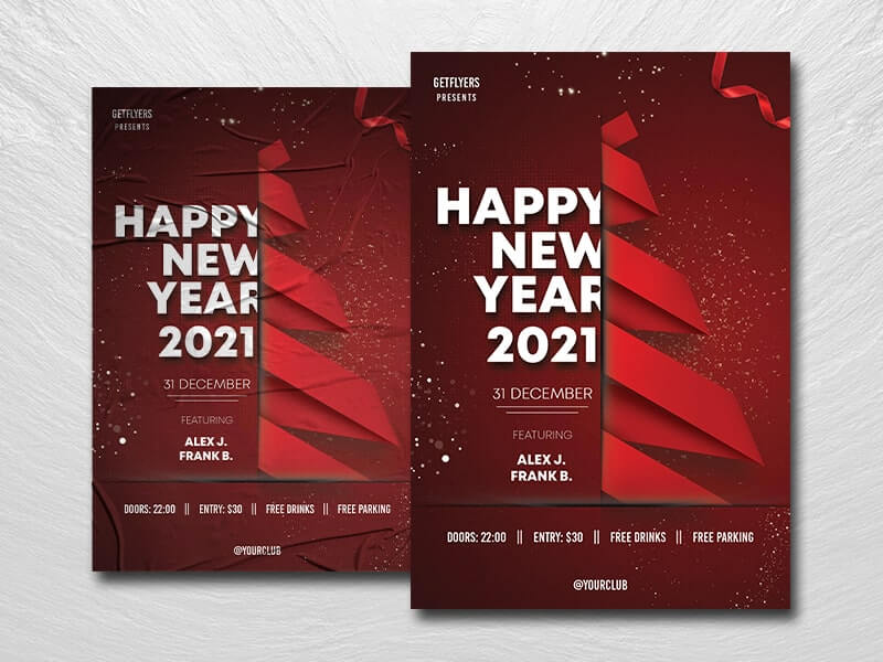 New Year 2021 Free PSD Flyer Template