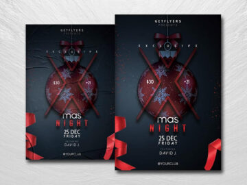 Minimal Xmas Party Free PSD Flyer Template