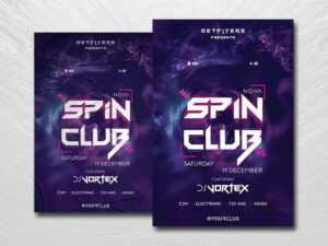 Spin Club Party Free PSD Flyer Template