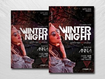Winter Night Party Free PSD Flyer Template