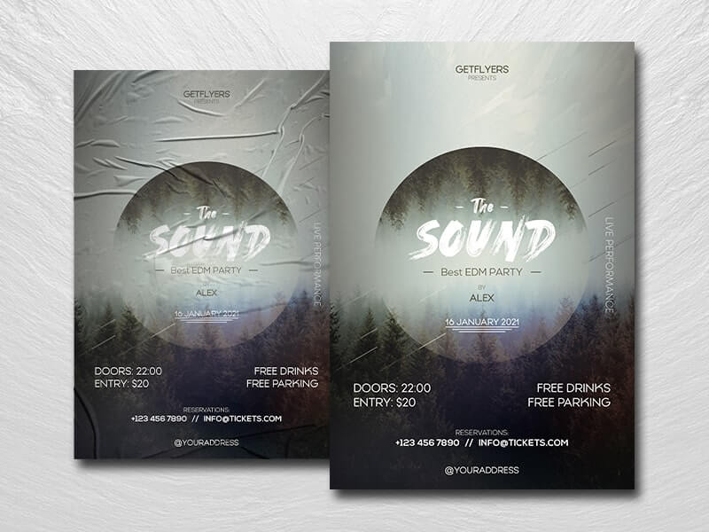 EDM Sound Party Free PSD Flyer Template
