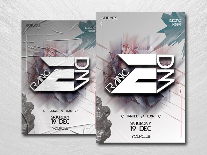 Trance EDM Free PSD Flyer Template