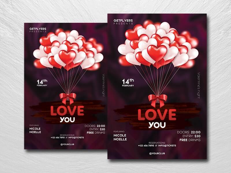 Love You Free PSD Flyer Template