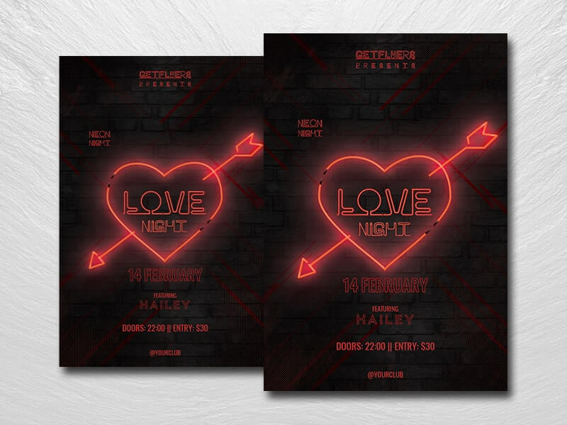 Neon Love Night Free PSD Flyer Template
