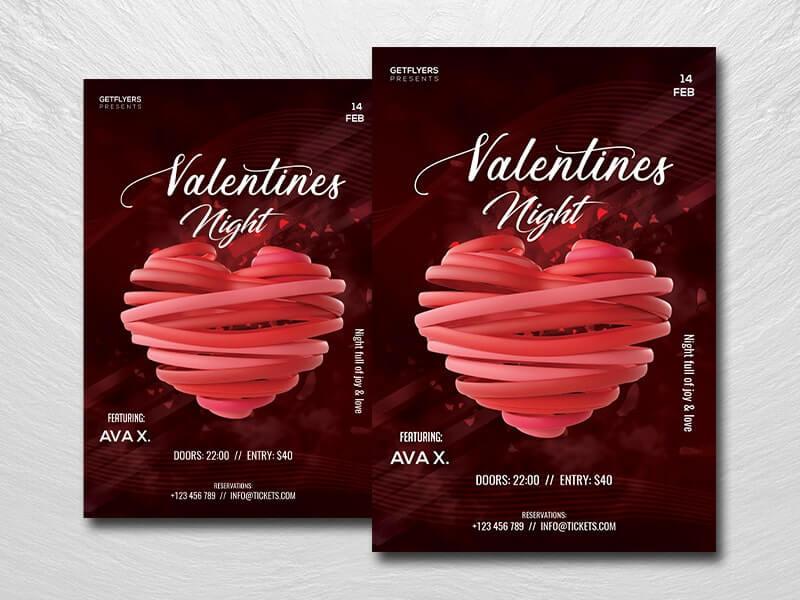 Valentine Nightclub Free PSD Flyer Template