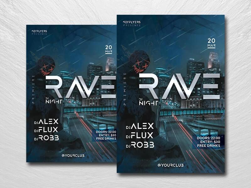 Rave DJ Night Free PSD Flyer Template