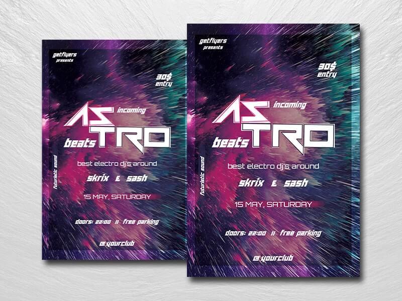 Astro Beats Night Free PSD Flyer Template