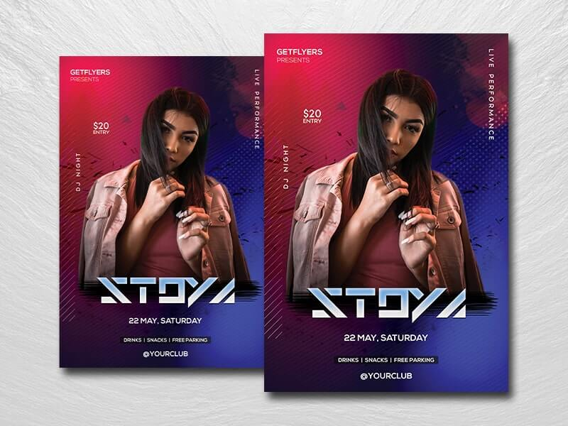 Nightclub DJ Party Free PSD Flyer Template