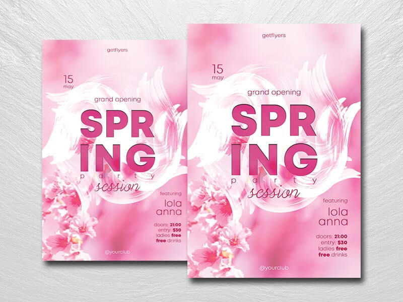 Spring Session Party Free PSD Flyer Template