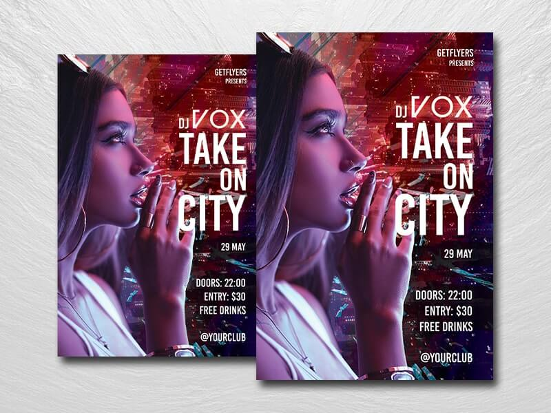 City Dj Night Free PSD Flyer Template