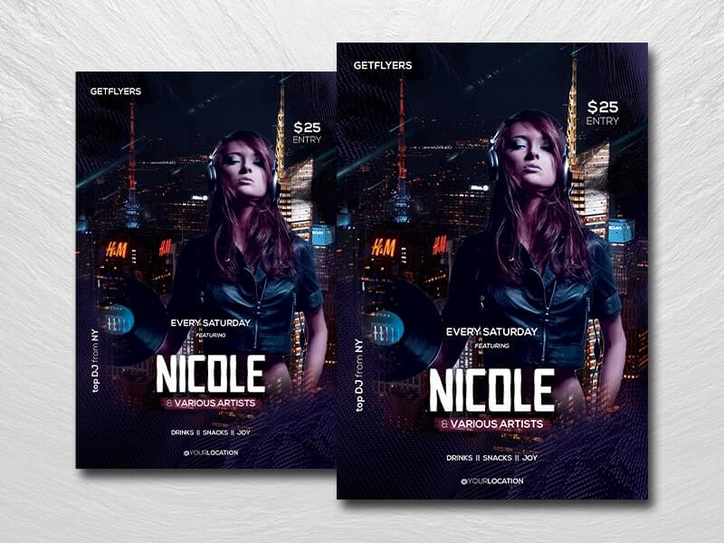 Party DJ Night Free PSD Flyer Template