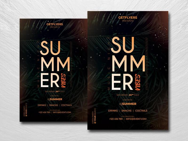 Summer Music Vibes Free PSD Flyer Template