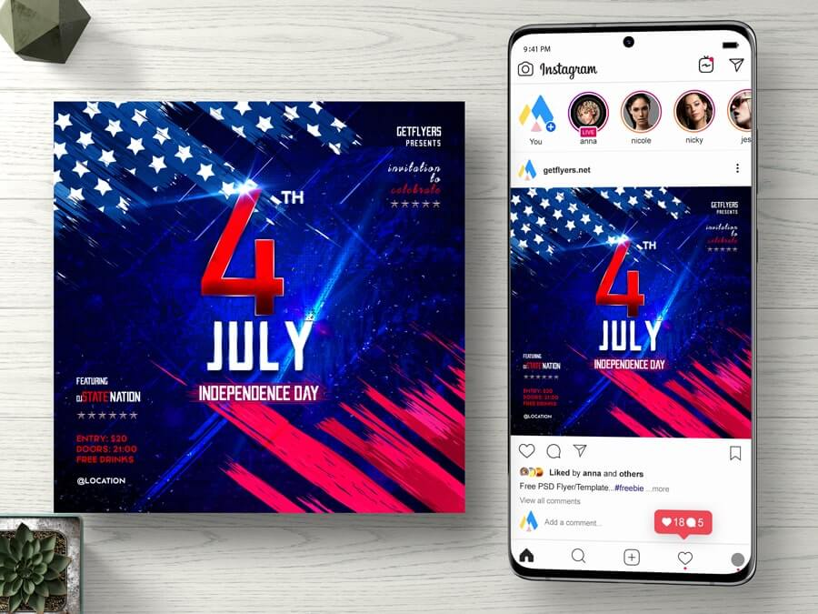 4th July Celebration Free Instagram PSD Banner Template