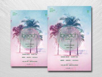 Beach Vibes Flyer Free PSD Template