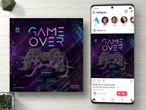 Game Over Free Instagram Flyer PSD Template