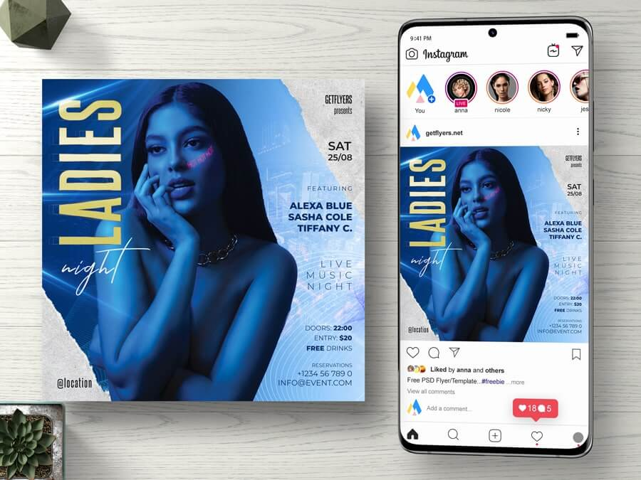 Ladies Night Party Free Instagram PSD Flyer Template