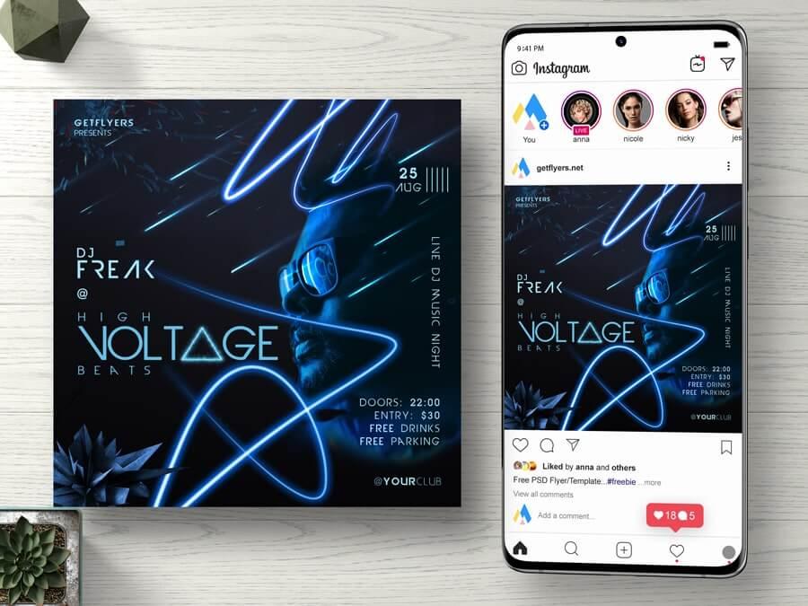 High Voltage Beats Instagram Flyer Free PSD Template