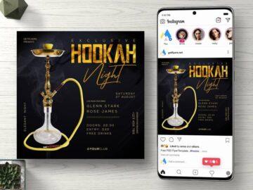 Hookah Night Instagram Free PSD Flyer Template