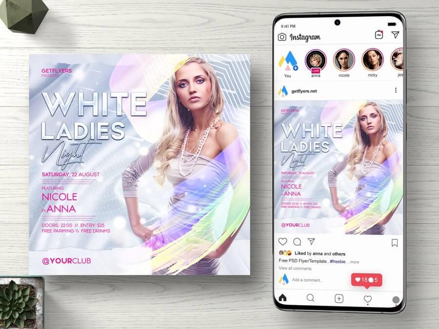 White Ladies Night Free Instagram PSD Flyer