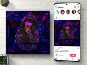 Club DJ Party Free Instagram Flyer PSD Template