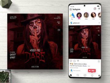 Dare to Halloween Free Instagram PSD Flyer Template